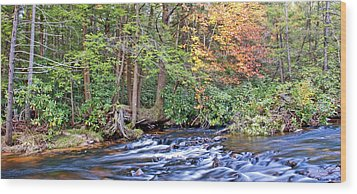 Wood Print featuring the photograph Mountain Stream In Autumn Pocono Mountains Pennsylvania by A Gurmankin