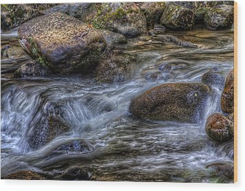 Mountain Stream On The Rocks Wood Print