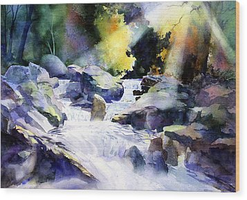 Mountain Stream Wood Print by Tom Poole