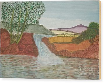 Wood Print featuring the painting Mountain Stream by Tracey Williams