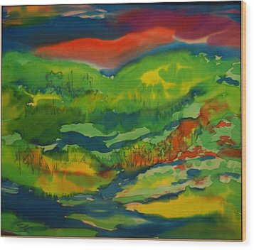Wood Print featuring the painting Mountain Streams by Susan D Moody