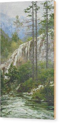 Mountain Streams Wood Print by Victoria Kharchenko