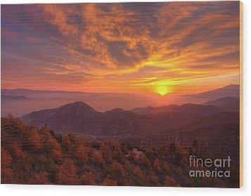 Mountain Sunset Wood Print by Eddie Yerkish