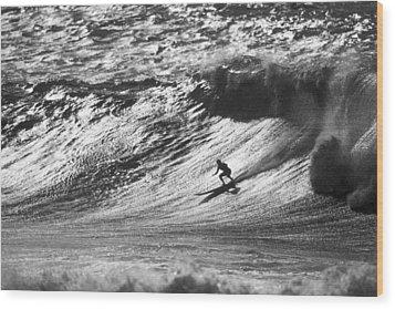 Mountain Surfer Wood Print by Sean Davey
