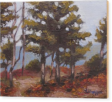 Mountain Top Pines Wood Print
