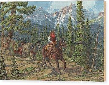 Mountain Traveler Wood Print by Randy Follis