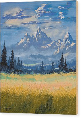 Wood Print featuring the painting Mountain Valley by Richard Faulkner