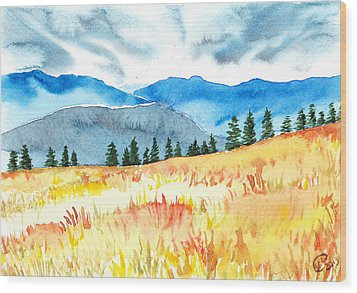 Mountain View Wood Print