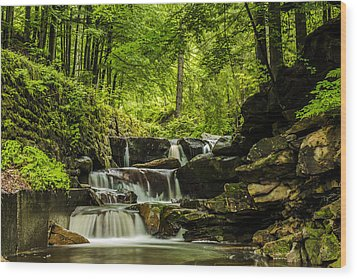 Mountain Waterfall Wood Print by Jaroslaw Grudzinski
