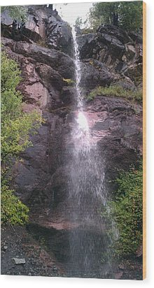 Wood Print featuring the photograph Mountain Waterfall by Fortunate Findings Shirley Dickerson