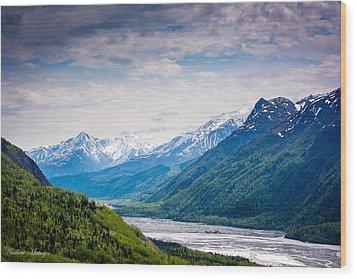 Mountains Along Seward Highway Wood Print
