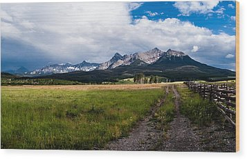 Wood Print featuring the photograph Mountains And Fence by Jay Stockhaus
