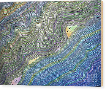 Wood Print featuring the drawing Mountains And Oceans by Mukta Gupta
