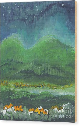 Wood Print featuring the painting Mountains At Night by Holly Carmichael