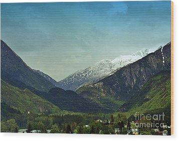 Mountains Beyond Skagway Wood Print by Gena Weiser