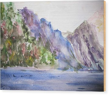 Mountains By The Sea Wood Print
