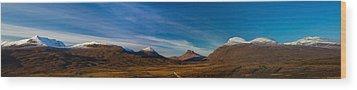 Mountains Of Assynt Panorama Wood Print by Derek Beattie
