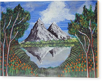 Mountains On A Lake Wood Print by Saranya Haridasan