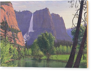 Mountains Waterfall Stream Western Mountain Landscape Oil Painting Wood Print by Walt Curlee