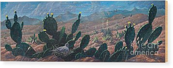 Wood Print featuring the painting Mourning Dove Desert Sands by Rob Corsetti