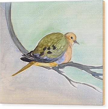 Wood Print featuring the painting Mourning Dove by Katherine Miller