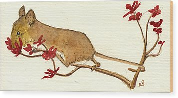 Mouse Flowers Wood Print