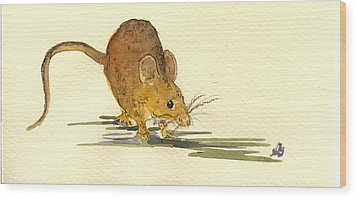 Mouse Wood Print by Juan  Bosco