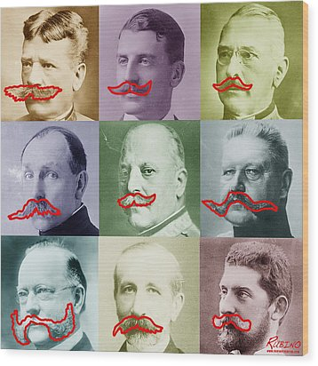 Moustaches Wood Print by Tony Rubino