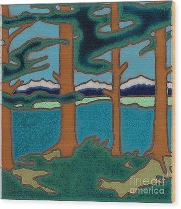 Moutain Lake Scene Wood Print by Elany  Prusa