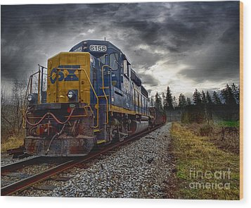 Moving Along In A Train Engine Wood Print by Melissa Messick