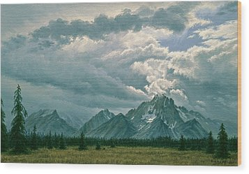 Moving Clouds-mount Moran Wood Print by Paul Krapf