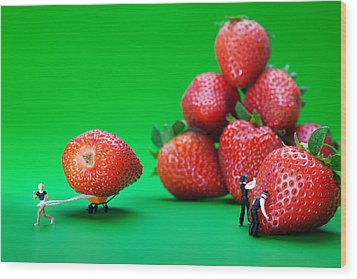 Wood Print featuring the photograph Moving Strawberries To Depict Friction Food Physics by Paul Ge