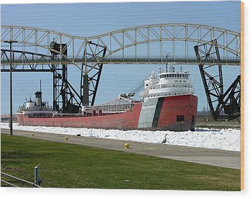 Moving Through The Ice To The Soo Locks Wood Print by Keith Stokes