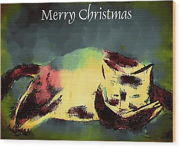 Mprints - Christmas Cheer 18 Wood Print by M  Stuart