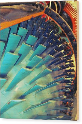 Mprints - Gears Grinding Wood Print by M  Stuart