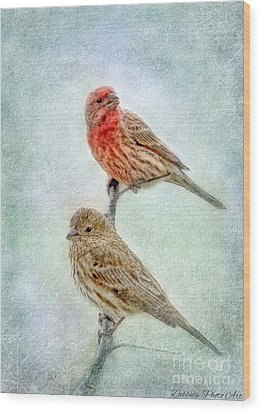 Mr And Mrs House Finch Digital Paint Wood Print by Debbie Portwood