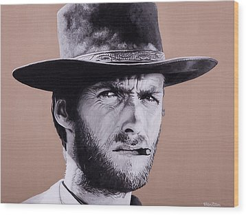Mr. Eastwood Wood Print by Ellen Patton