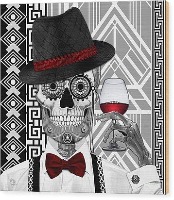 Mr. J.d. Vanderbone - Day Of The Dead 1920's Sugar Skull - Copyrighted Wood Print