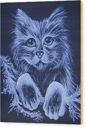 Wood Print featuring the painting Mr. Kitty by Leslie Manley