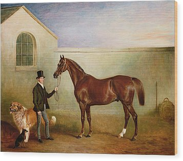 Mr Meakin Holding Sir Robert Peels Chestnut Hunter With His Dogs Hector And Jem Wood Print by John E Ferneley