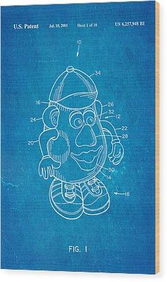 Mr Potato Head Patent Art 2001 Blueprint Wood Print by Ian Monk