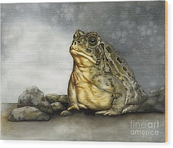 Mr. Woodhouse Toad Wood Print by Nan Wright