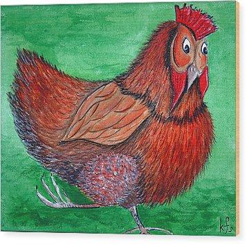 Mrs Chicken Wood Print