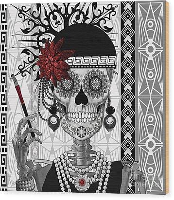 Mrs. Gloria Vanderbone - Day Of The Dead 1920's Flapper Girl Sugar Skull - Copyrighted Wood Print