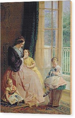 Mrs Hicks Mary Rosa And Elgar Wood Print by George Elgar Hicks