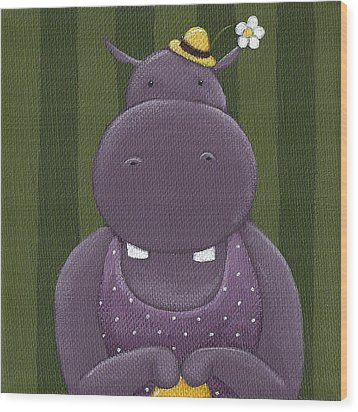 Mrs. Hippo Wood Print by Christy Beckwith