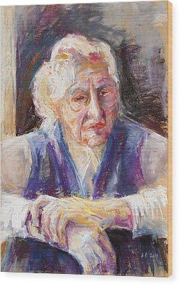 Mrs K. Remembering Wood Print by Barbara Pommerenke
