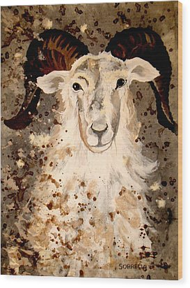 Powell Mountain Goat Wood Print by Amy Sorrell