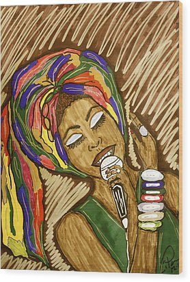 Wood Print featuring the drawing Ms. Badu by Chrissy  Pena