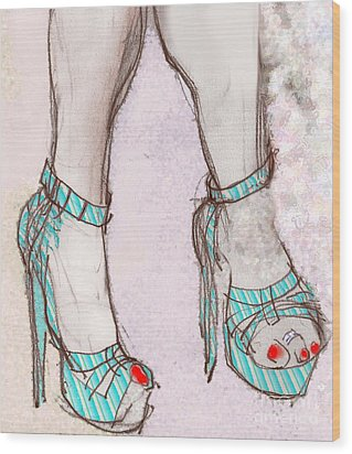 Ms. Cindy's Blue Shoes Wood Print by Carolyn Weltman